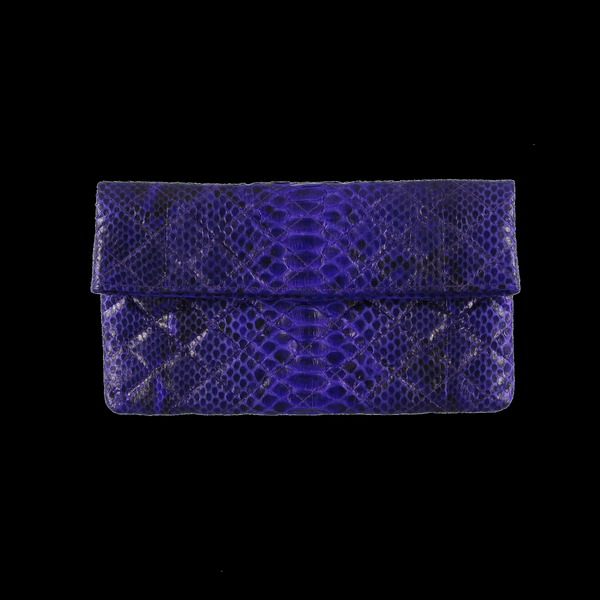 Quilted purple  snake skin clutch
