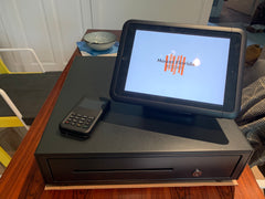 EPOS system with Mount Florida Books Logo on the screen