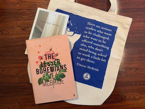 Eimear Mcbride Tote bag with hardbacks of The Lesser Bohemians and Strange Hotel on top of a table
