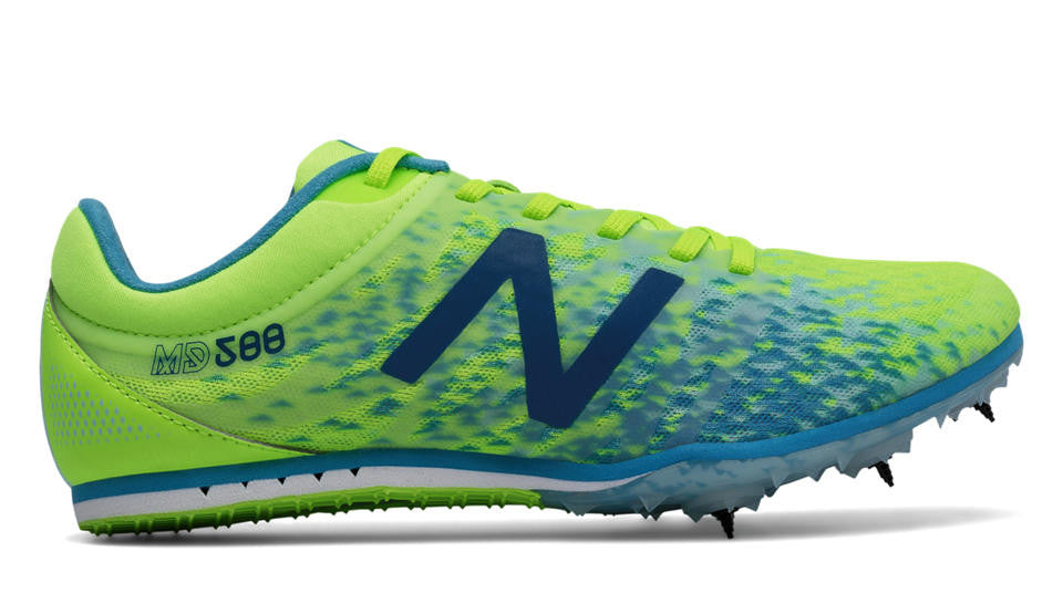 Women's New Balance WMD500v5 Middle Distance Spike_bright green_blue