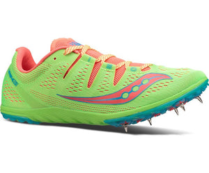 Women's Saucony Carrera XC3 Cross Country Spike_slime_coral
