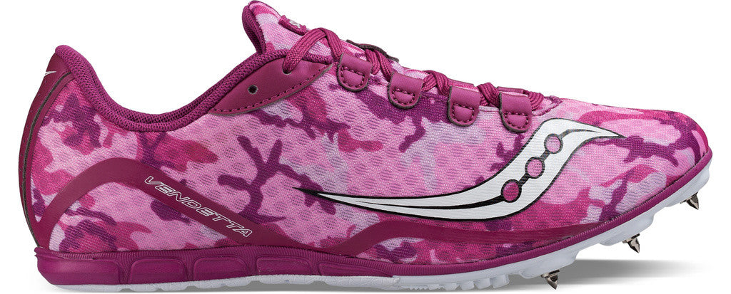 Women's Saucony Vendetta Middle Distance Spike_pink_magenta pattern