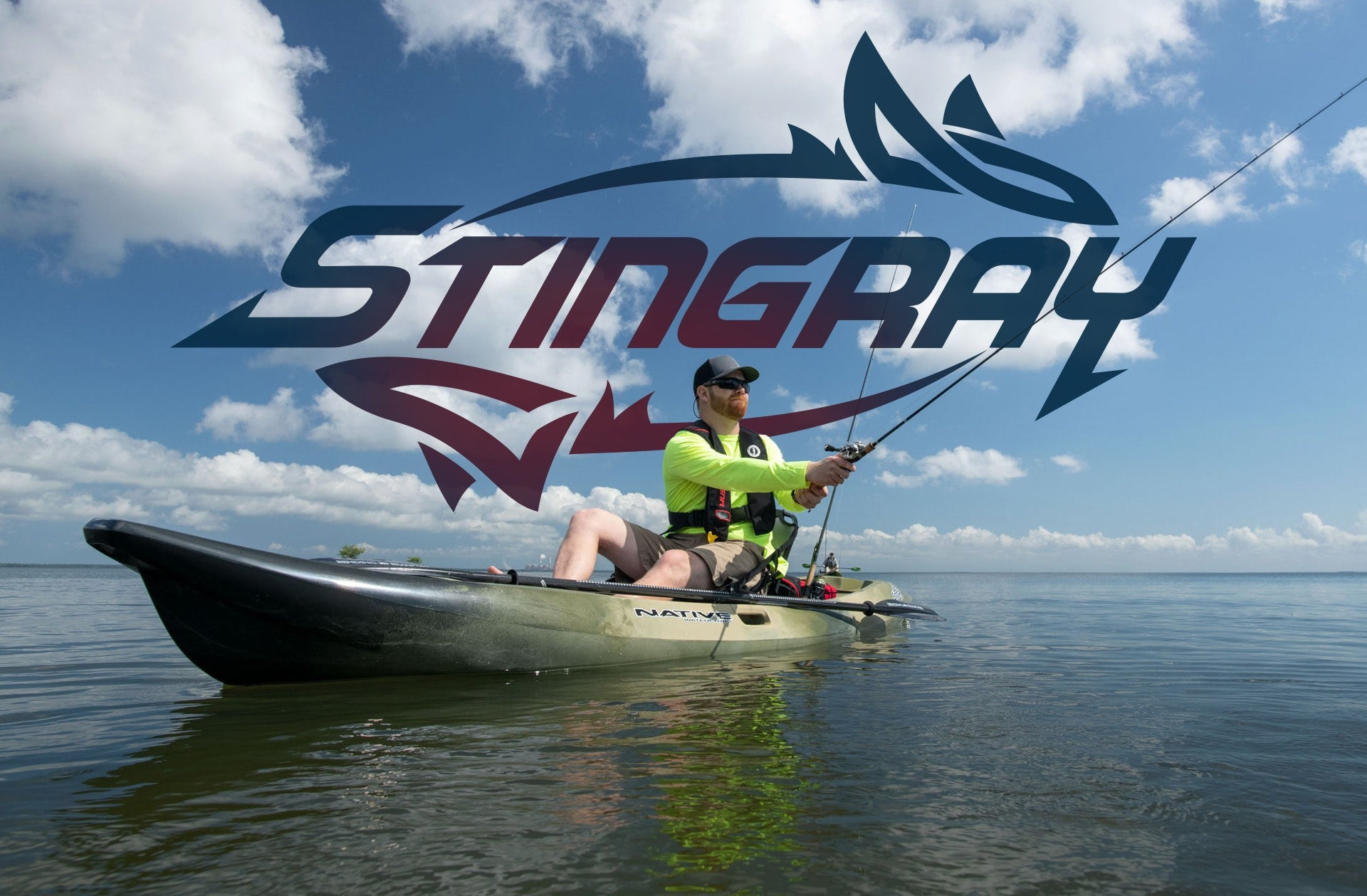 Angler casting line while sitting in a Native Watercraft Stingray kayak
