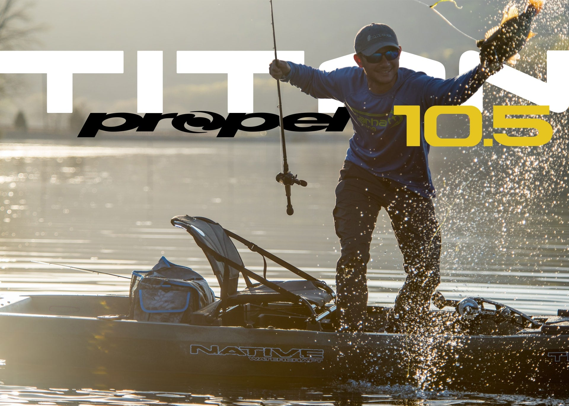 Angler catching a fish on his Native Watercraft Titan Propel 10.5