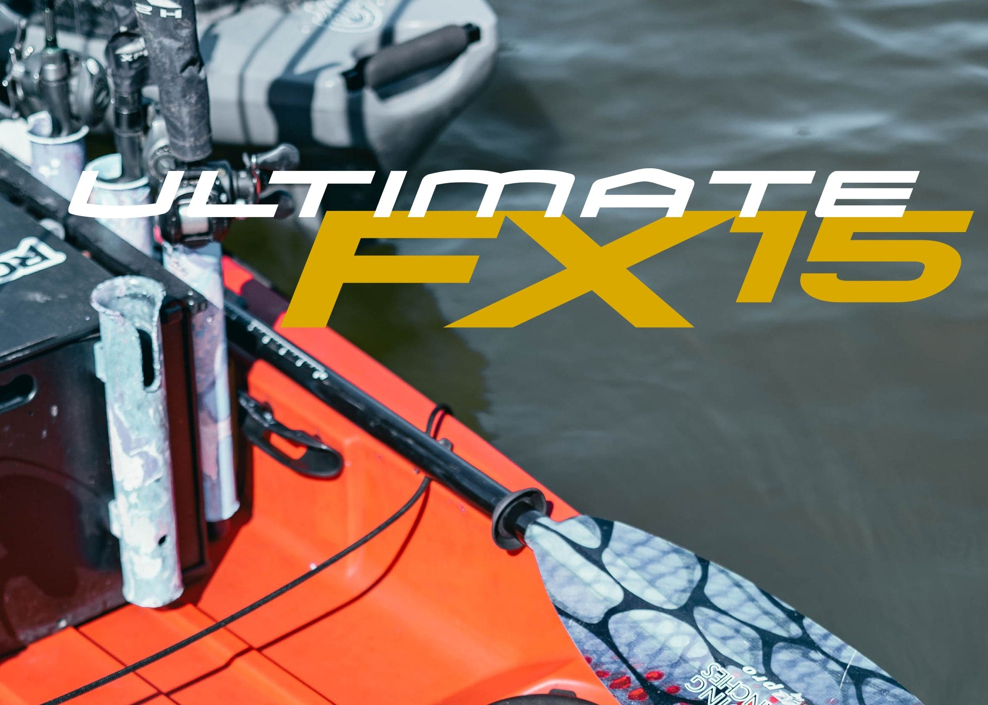 Close-up of paddle resting on a Native Watercraft Ultimate FX15
