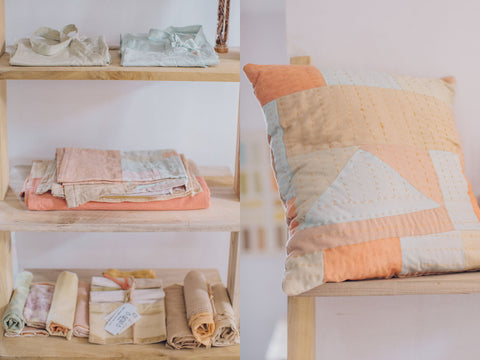 Naturally dyed cushion covers, handmade by artisans in Sri Lanka