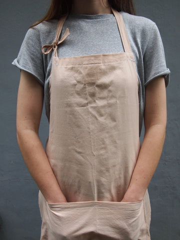 Naturally dyed apron with avocado, handmade by artisand in Sri Lanka