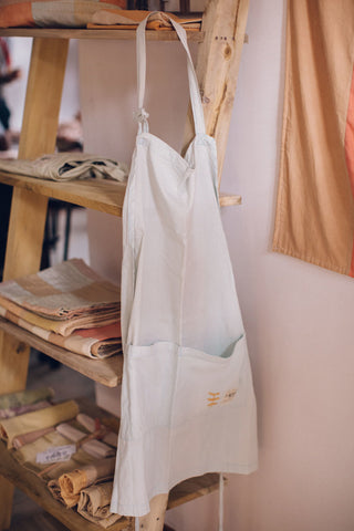 Naturally dyed embroidered apron, handmade by artisans in Sri Lanka