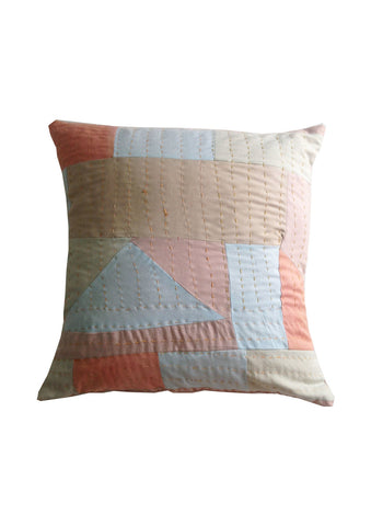 Patchwork cushion, handmade and naturally dyed by artisans in Sri Lanka