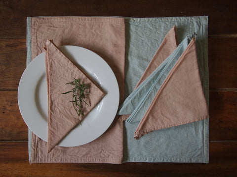 Naturally dyed fabric table set made by artisans in Sri Lanka