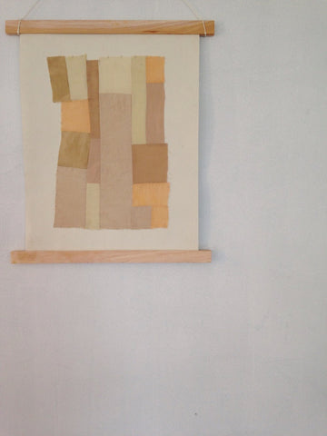 Wall hanging, made from naturally dyed patchwork fabric