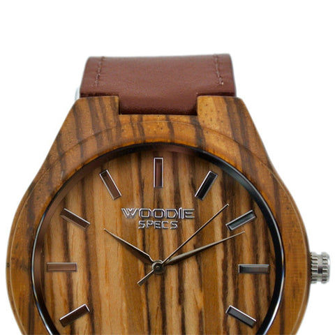 1010 Zebra Wood / Brown Italian Leather