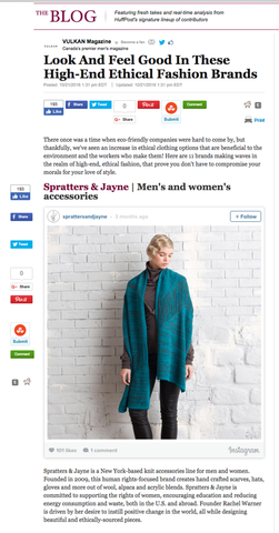 Spratters & Jayne Vulkan Mag Blog Huffington Post High End Ethical Brands