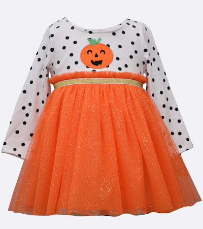 little girls halloween applique tulle dress