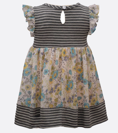 girls back to school dress with florals and stripes