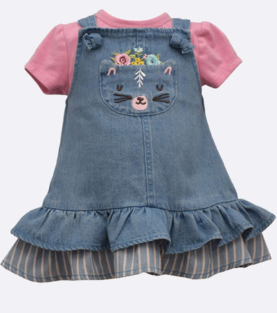 little girl denim jumper with cat embroidery