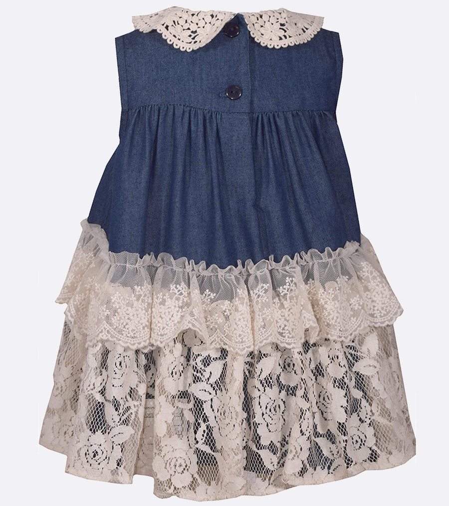cute girls, chambray dress, lace detail, sister dress, matching sister dresses