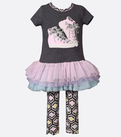 Cute outfit for school with sneaker applique tutu tunic and print legging