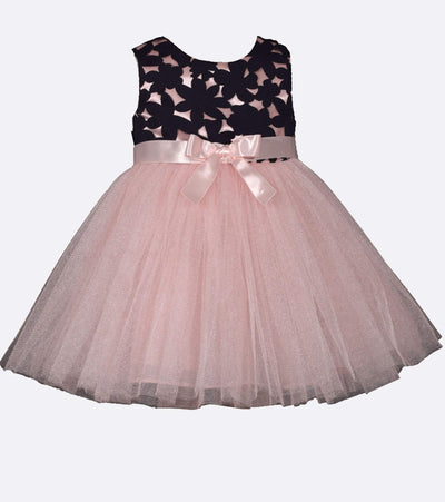 Infant special occasion dress with pink tutu skirt and bow detail