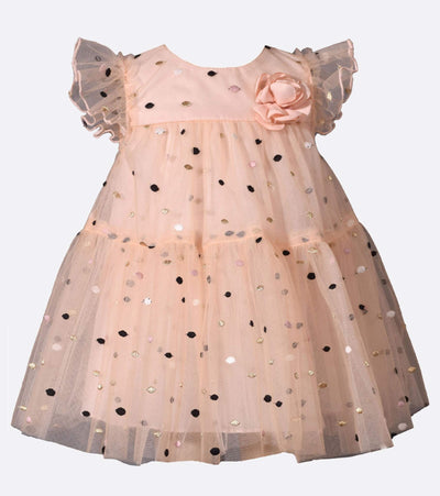 Baby girl special occasion dress with multi color dot overlay and flutter sleeves