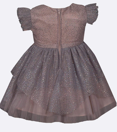 Foiled mesh sparkly dress with fairy hem, matching Sister Dress to Kayla Foil Mesh