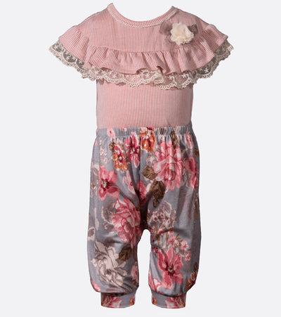 baby girls outfit, floral coverall, coverall, trendy, back to school