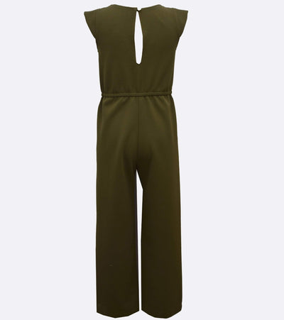 tween girls jumpsuit with tie and gromet detail