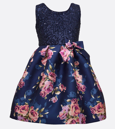 navy sequin dress with floral mikado skirt