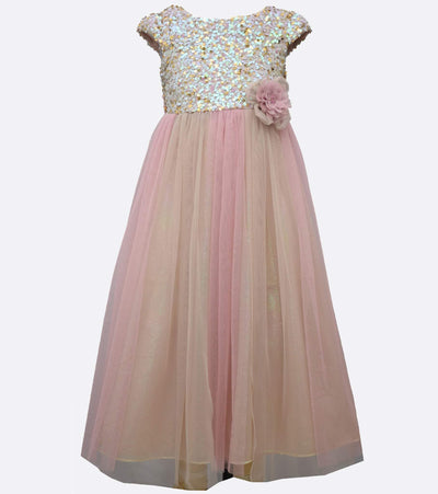 tea length dress with sequin bodice and colored mesh skirt