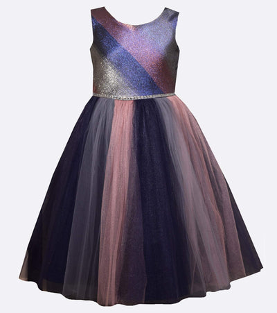 Tween dress with metallic accents and rainbow tulle skirt