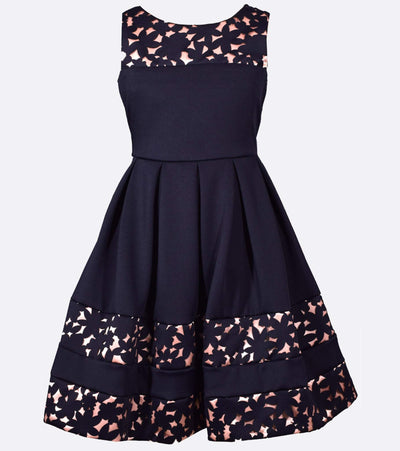 Navy tween party dress with floral accents