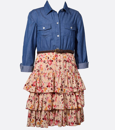 Big girls fall chambray shirt dress to floral ruffle skirt with belt at waist