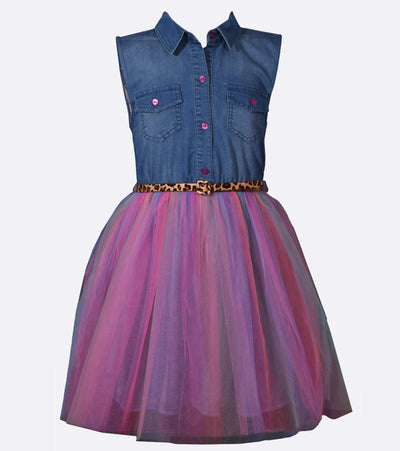 Denim shirt dress with rainbow tutu skirt for little girls, big girls and plus size girls