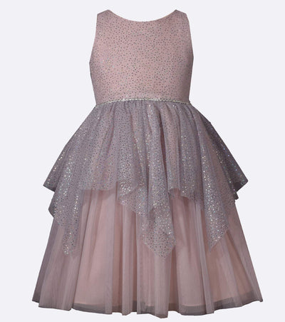 Matching sister party dress with sparkly foiled mesh and fairy hem