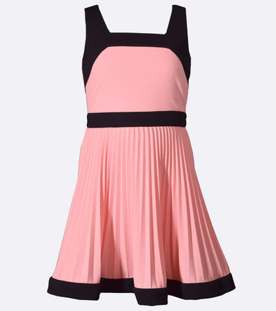 Plus size girls dress with pink pleats and black accents