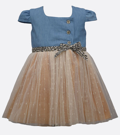 denim dress with cheetah print belt and skirt detail