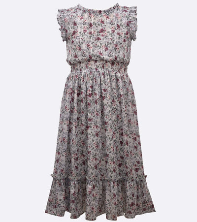 tween floral midi dress with flutter sleece