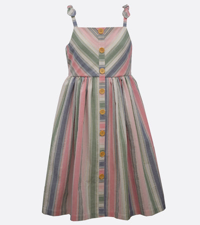 little girl stripes dress with button detail