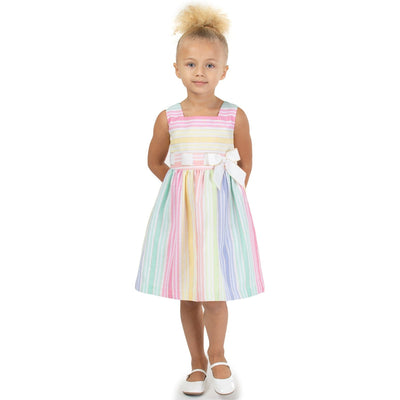 Girls matching Easter Dress Multi stripe linen with bow