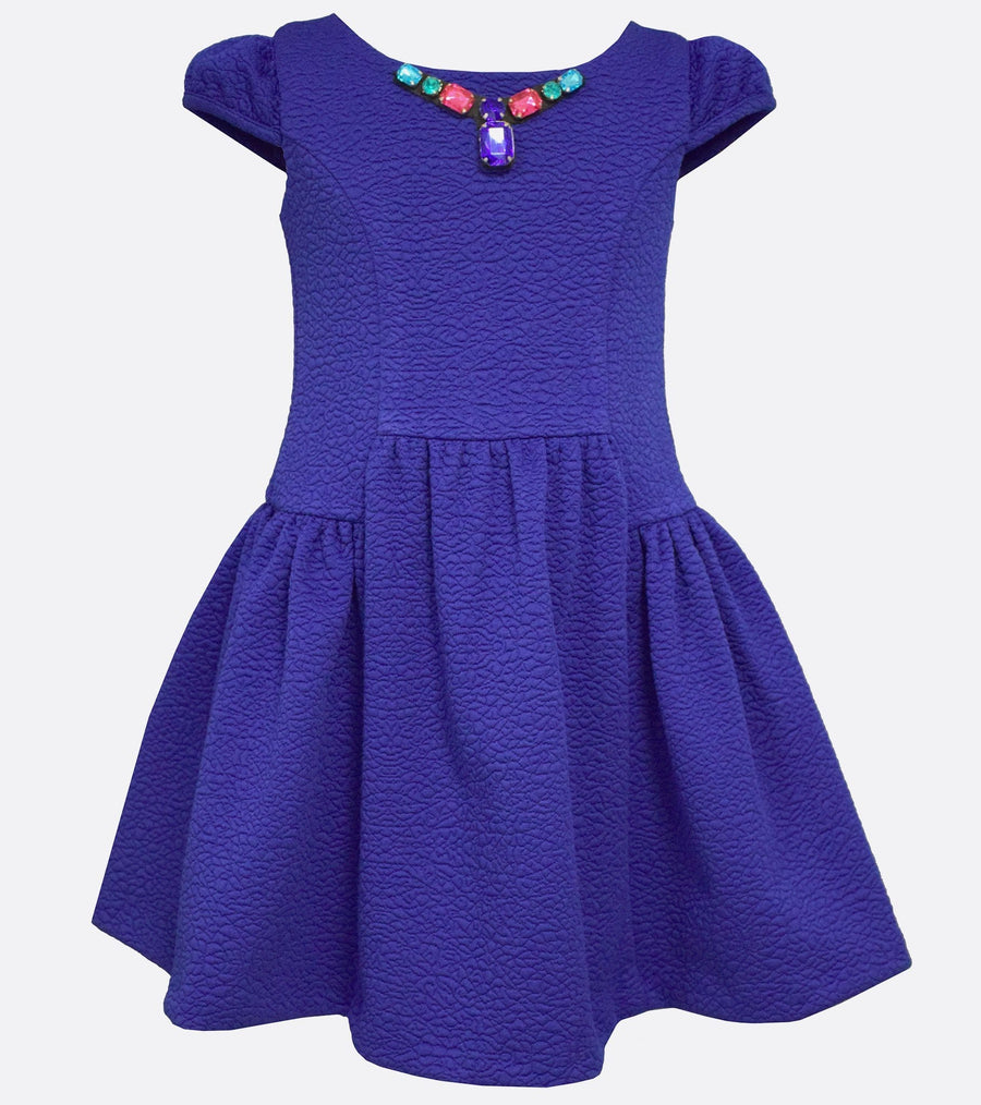 Bonnie Jean double knit jaquared dress with jeweled neckline