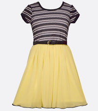 Novelty Knit Stripe to Bright Skirt with Belt