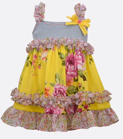 girls summer dress with ruffle and floral detail