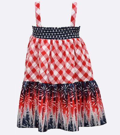 Fourth of july dress for girls mixed Americana prints