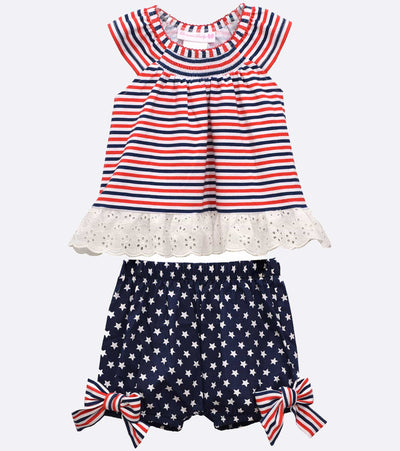Girls 4th of July Outfit with striped red white and blue top and start shorts