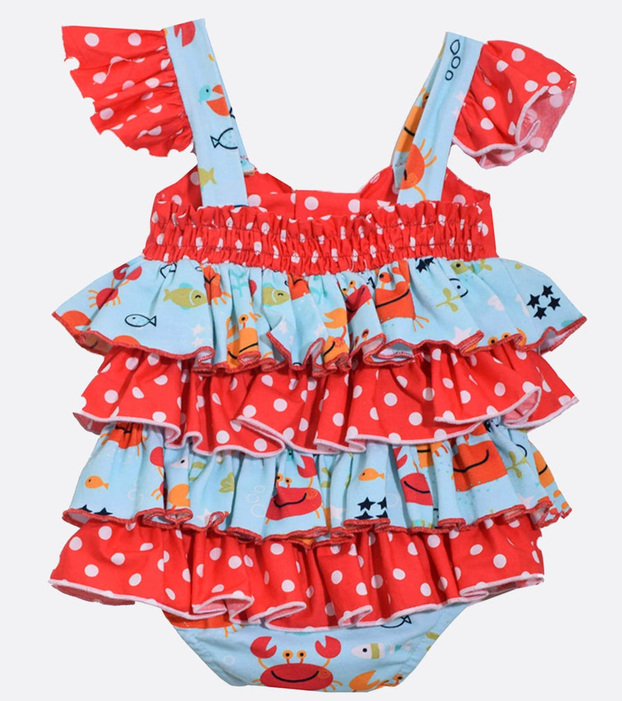 ruffle, onesie, outfit for newborn, outfit for infant, crab, red, polka dots