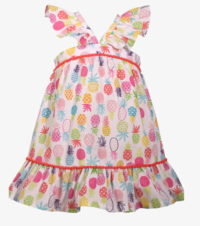 Pineapple print sundress for baby girls and little girls