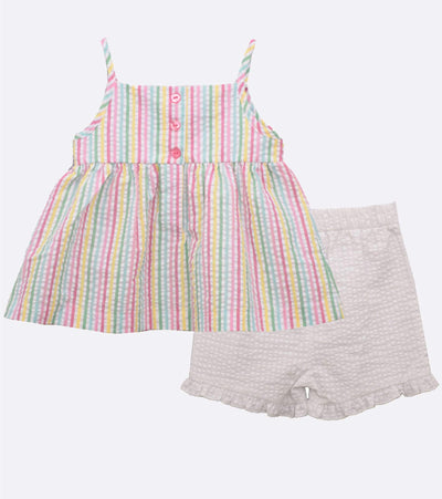 baby girl seersucker short set with popsicle