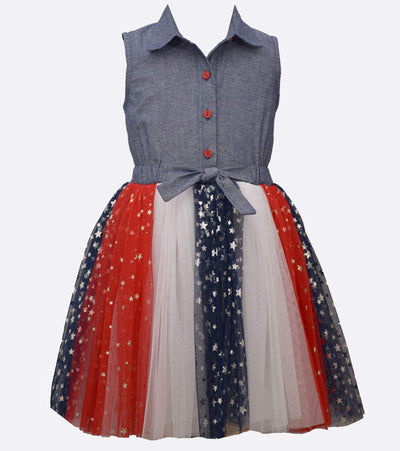 Patriotic denim to red, white, and blue tutu dress for girls