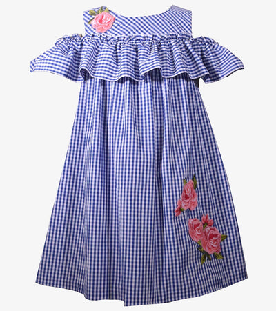 girls sundress, gingham dress, cold shoulder, ruffle, rose applique