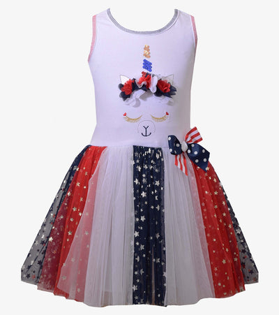 americana, girls americana dress, red white and blue, sister style, matching sister dress, unicorn